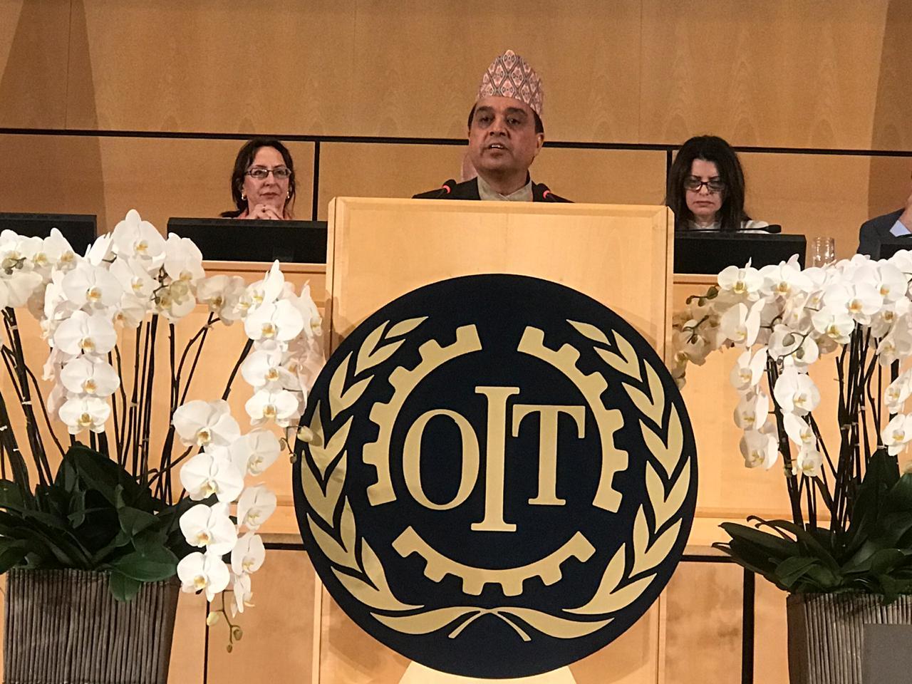 महासंघको रोजगारदाता परिषद्का सभापति ढकालद्वारा  आइएलओको १०८ औं सम्मेलनमा संबोधन