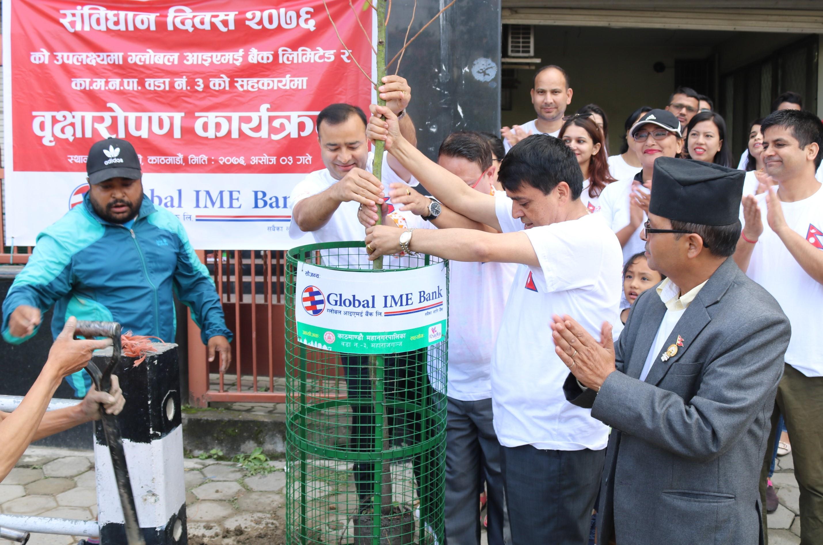 ग्लोबल आइएमई बैंकद्वारा वृक्षरोपण